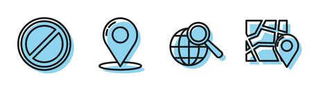 Set line Magnifying glass with globe, Stop sign, Map pin and Folded map with location marker icon. Vector