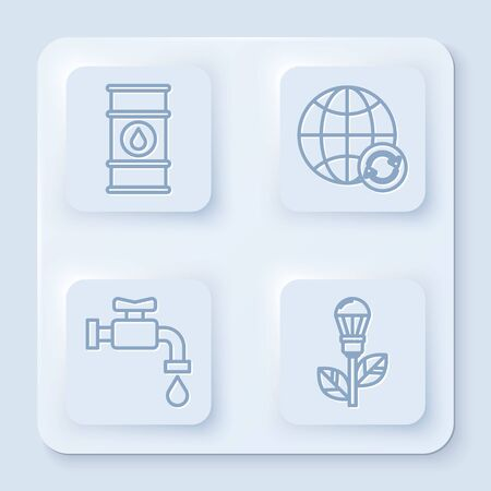 Set line Oil barrel line, Planet earth and a recycling, Water tap and Light bulb with leaf. White square button. Vector Ilustracja