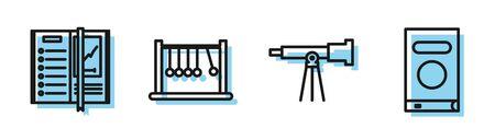 Set line Telescope, Notebook, Pendulum and Book icon. Vector Vector Illustratie