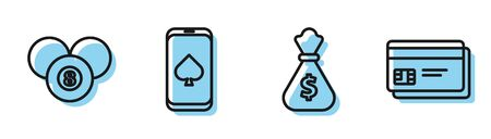 Set line Money bag, Billiard pool snooker 8 ball, Online poker table game and Credit card icon. Vector
