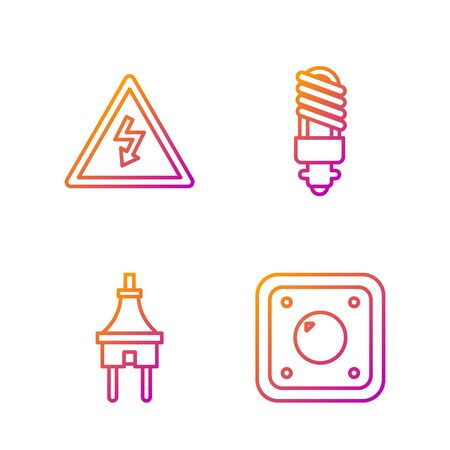 Set line Electric light switch, Electric plug, High voltage sign and LED light bulb. Gradient color icons. Vector