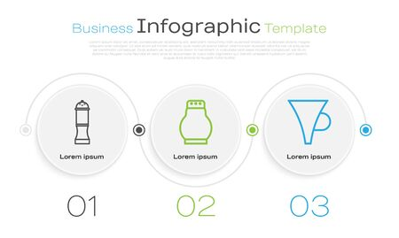 Set line Pepper, Salt and pepper and Funnel or filter. Business infographic template. Vector 스톡 콘텐츠 - 138996788