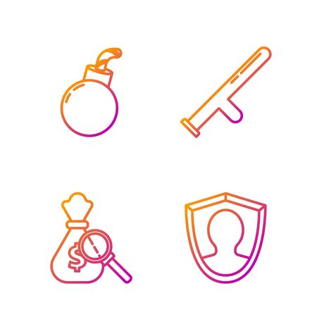 Set line User protection, Money bag and magnifying glass, Bomb ready to explode and Police rubber baton. Gradient color icons. Vector Illustration