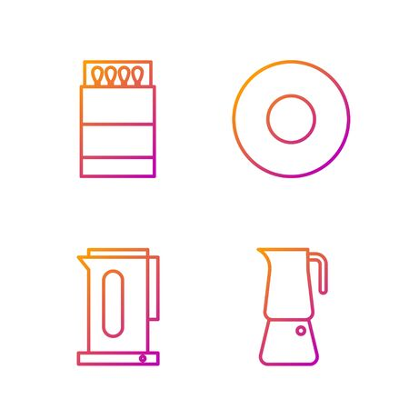 Set line Moka pot, Kettle with handle, Open matchbox and matches and Plate. Gradient color icons. Vector