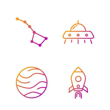 Set line Rocket ship with fire, Planet, Great Bear constellation and UFO flying spaceship. Gradient color icons. Vector