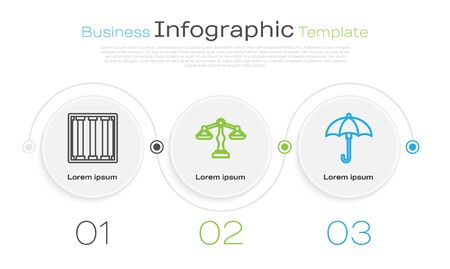 Set line Prison window, Scales of justice and Umbrella. Business infographic template. Vector