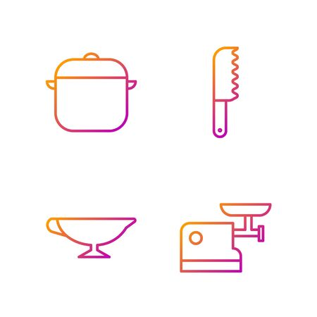 Set line Kitchen meat grinder, Sauce boat, Cooking pot and Bread knife. Gradient color icons. Vector