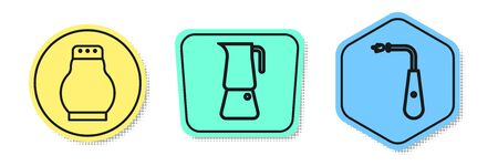 Set line Salt and pepper, Moka pot and Long electric lighter. Colored shapes. Vector
