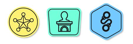 Set line Hexagram sheriff, Stage stand or debate podium rostrum and Handcuffs. Colored shapes. Vector 矢量图像