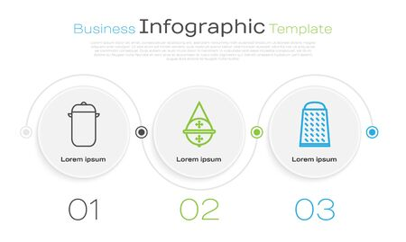 Set line Cooking pot, Ball tea strainer and Grater. Business infographic template. Vector