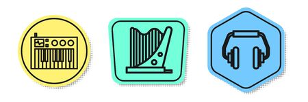 Set line Music synthesizer, Harp and Headphones. Colored shapes. Vector Vectores