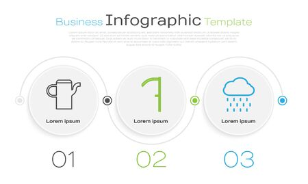 Set line Watering can, Scythe and Cloud with rain. Business infographic template. Vector Illusztráció
