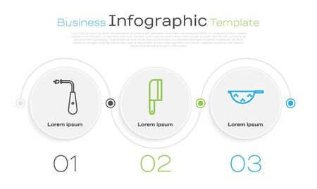Set line Long electric lighter, Meat chopper and Kitchen colander. Business infographic template. Vector