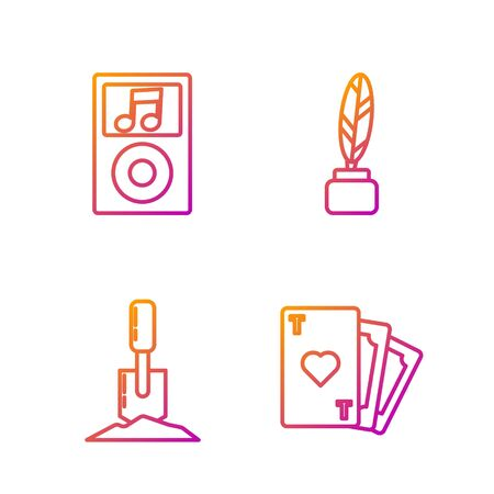 Set line Playing card with heart symbol, Shovel in the ground, Music player and Feather and inkwell. Gradient color icons. Vector