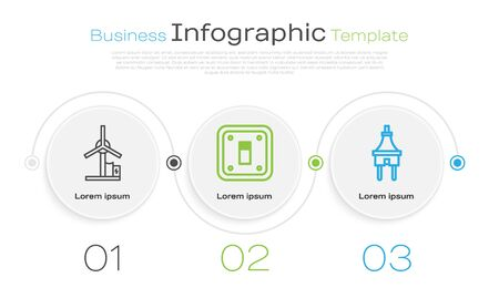 Set line Wind turbine, Electric light switch and Electric plug. Business infographic template. Vector 向量圖像