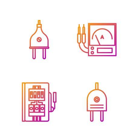 Set line Electric plug, Electrical panel, Electric plug and Ampere meter, multimeter, voltmeter. Gradient color icons. Vector 向量圖像