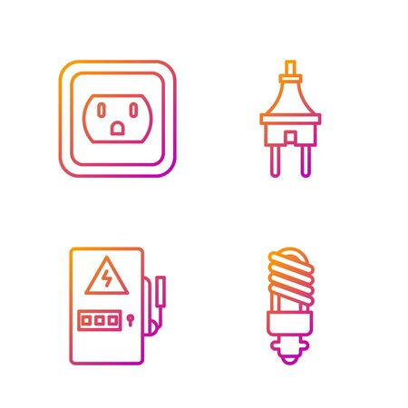 Set line LED light bulb, Electrical panel, Electrical outlet in the USA and Electric plug. Gradient color icons. Vector