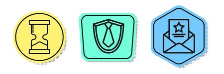 Set line Old hourglass, Tie and The arrest warrant. Colored shapes. Vector