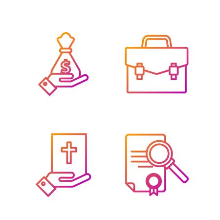 Set line Document with search, Oath on the Holy Bible, Hand holding money bag and Briefcase. Gradient color icons. Vector
