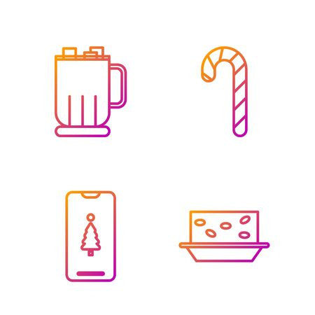 Set line Nougat with nuts, Smartphone with gift box, Hot chocolate cup with marshmallows and Christmas candy cane with stripes. Gradient color icons. Vector Vettoriali