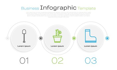 Set line Shovel, Cactus and succulent in pot and Waterproof rubber boot. Business infographic template. Vector