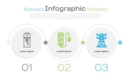 Set line Battery, Electric extension cord and High voltage power pole line. Business infographic template. Vector