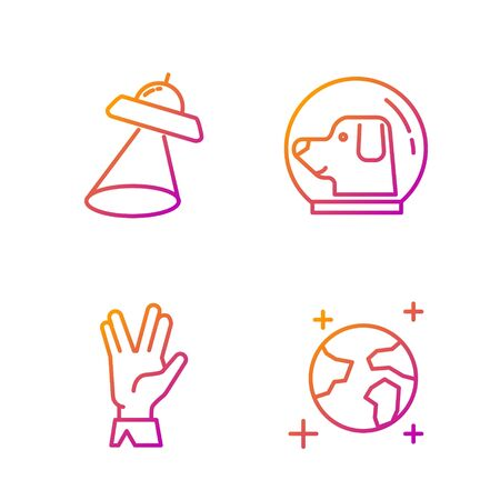 Set line Earth globe, Vulcan salute, UFO flying spaceship and Dog in astronaut helmet. Gradient color icons. Vector