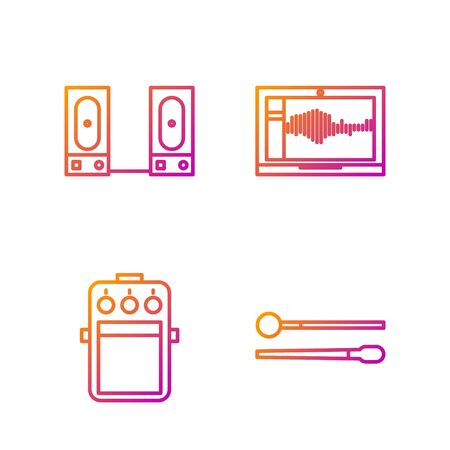 Set line Drum sticks, Guitar pedal, Stereo speaker and Sound or audio recorder on laptop. Gradient color icons. Vector  イラスト・ベクター素材