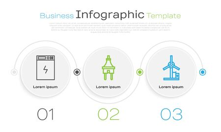 Set line Power bank, Electric plug and Wind turbine. Business infographic template. Vector