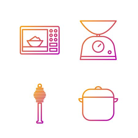 Set line Cooking pot, Honey dipper stick, Microwave oven and Scales. Gradient color icons. Vector