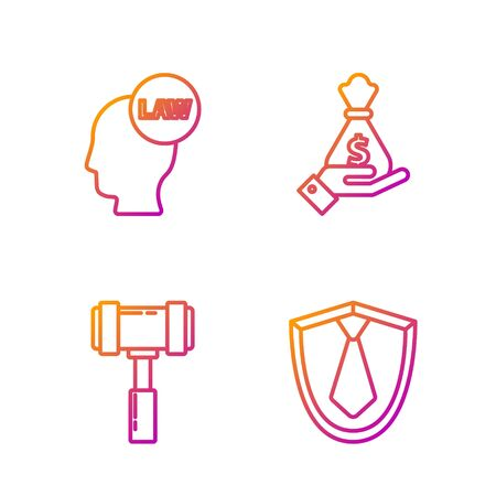 Set line Tie, Judge gavel, Head with law and Hand holding money bag. Gradient color icons. Vector Stock Illustratie