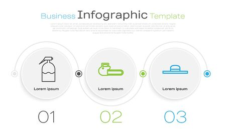 Set line Garden sprayer, Chainsaw and Worker hat. Business infographic template. Vector Vettoriali