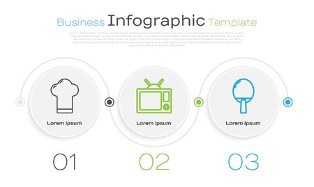 Set line Chef hat, Television and Racket for playing table tennis. Business infographic template. Vector