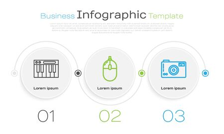 Set line Music synthesizer, Computer mouse and Photo camera. Business infographic template. Vector Vectores