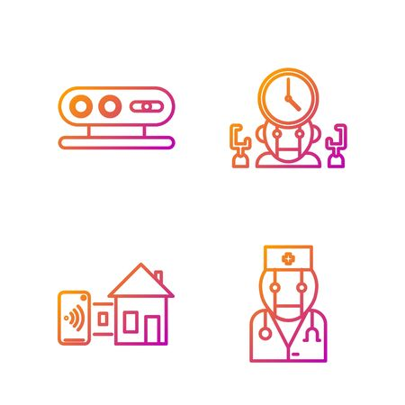 Set line Robot doctor, Smart home, 3d scanning system and Robot and digital time manager. Gradient color icons. Vector