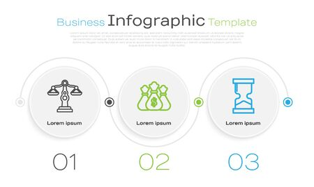 Set line Scales of justice, Money bag and Old hourglass. Business infographic template. Vector