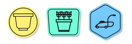 Set line Flower pot, Plants in pot and Lawn mower. Colored shapes. Vector