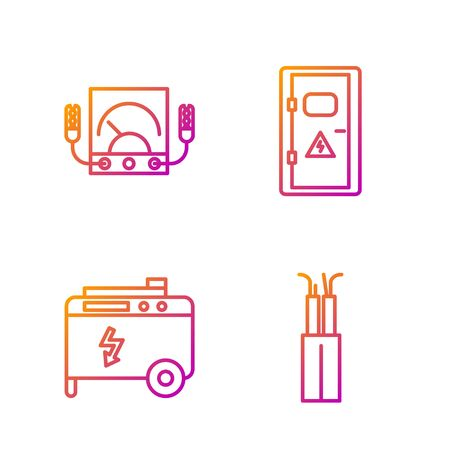 Set line Electric cable, Portable power electric generator, Ampere meter, multimeter, voltmeter and Electrical cabinet. Gradient color icons. Vector