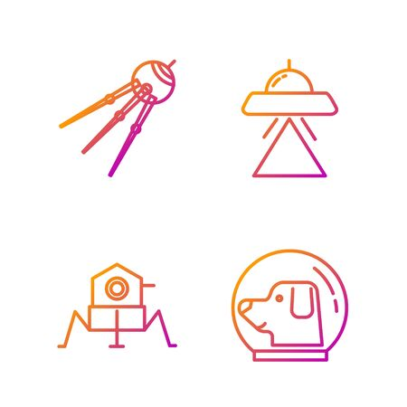 Set line Dog in astronaut helmet, Mars rover, Satellite and UFO flying spaceship. Gradient color icons. Vector 矢量图像
