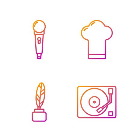 Set line Vinyl player with a vinyl disk, Feather and inkwell, Microphone and Chef hat. Gradient color icons. Vector Illustration