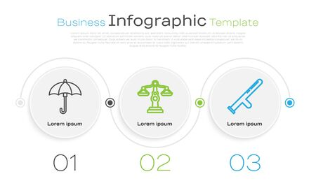 Set line Umbrella, Scales of justice and Police rubber baton. Business infographic template. Vector 向量圖像