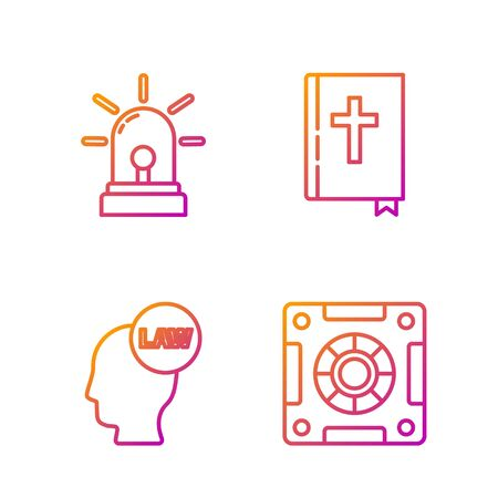 Set line Safe, Head with law, Flasher siren and Holy bible book. Gradient color icons. Vector