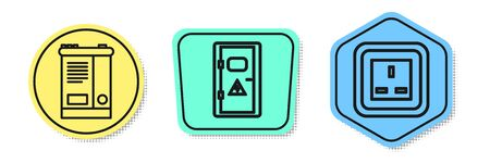 Set line Car battery, Electrical cabinet and Electrical outlet. Colored shapes. Vector