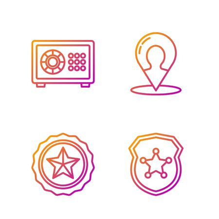 Set line Police badge, Police badge, Safe and Map marker with a silhouette of a person. Gradient color icons. Vector