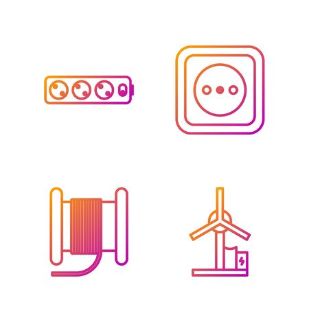 Set line Wind turbine, Wire electric cable on a reel or drum, Electric extension cord and Electrical outlet. Gradient color icons. Vector Vector Illustratie
