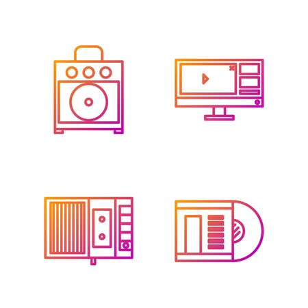 Set line Vinyl disk, Music tape player, Guitar amplifier and Video recorder or editor software on monitor. Gradient color icons. Vector