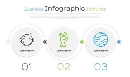 Set line Astronaut helmet, Vulcan salute and Planet. Business infographic template. Vector Illustration