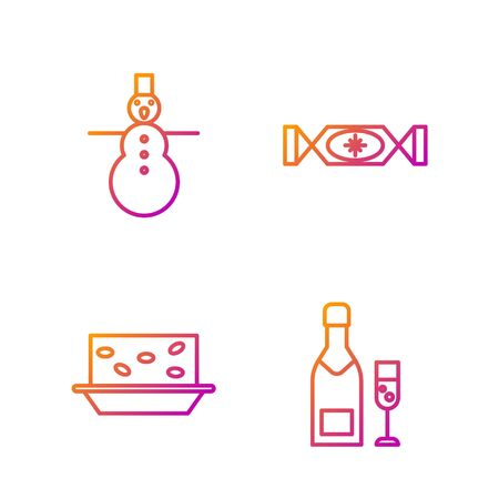 Set line Champagne bottle and glass of champagne, Nougat with nuts, Christmas snowman and Candy. Gradient color icons. Vector