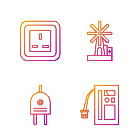 Set line Battery, Electric plug, Electrical outlet and Wind turbine. Gradient color icons. Vector 向量圖像