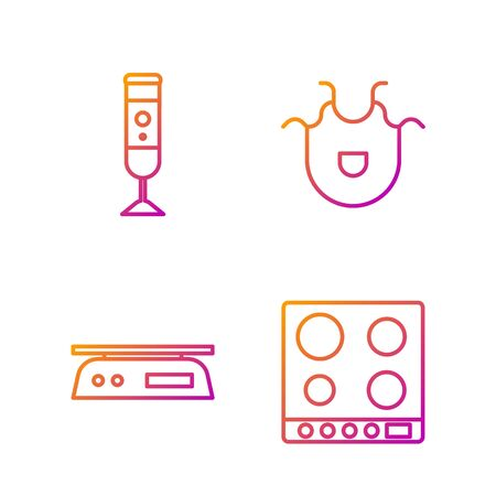 Set line Gas stove, Electronic scales, Blender and Kitchen apron. Gradient color icons. Vector